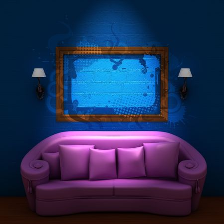 sconces: Pink couch with empty frame and sconces in blue minimalist interior