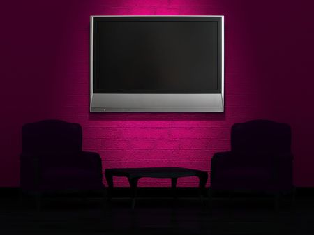 Two chairs and wood table with LCD tv on the wall in minimalist interior photo