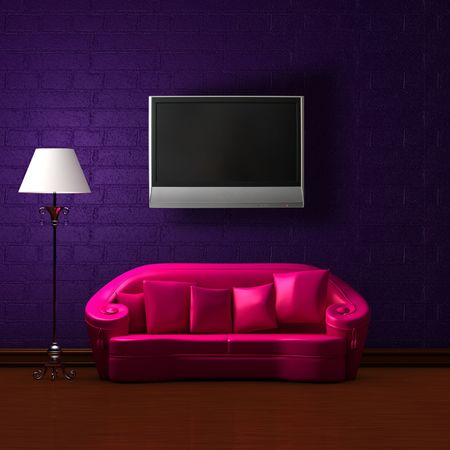 Pink couch with empty frame and standard lamp with LCD tv on the wall in dark purple minimalist interior Stock Photo