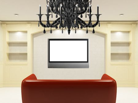 Red sofa with illuminated LCD tv on the wall Stock Photo - 6464313
