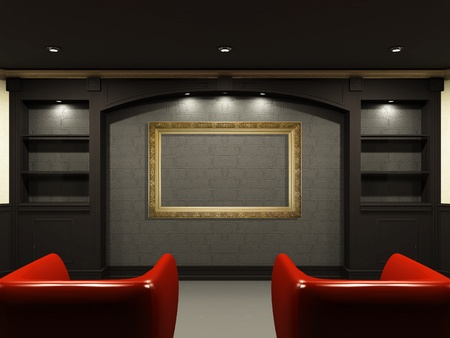 home theater: Red chairs in living room with emty place on the wall