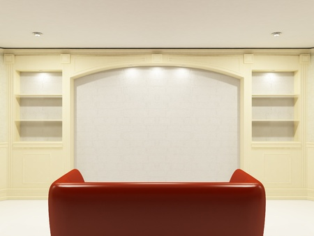 Red sofa with place on the wall for yours information Stock Photo - 9578641