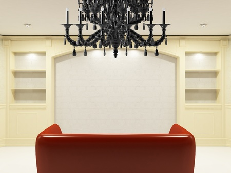 Red sofa with place on the wall for yours information Stock Photo - 9578731