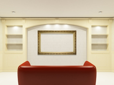 Red sofa with place on the wall for yours information Stock Photo - 9578724