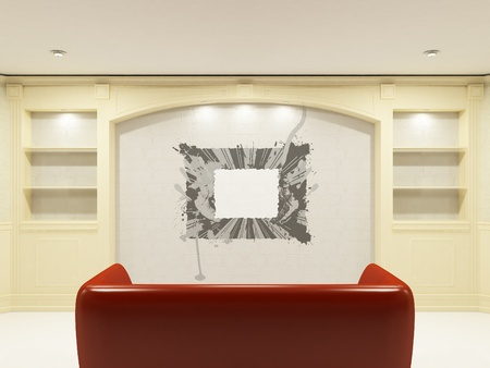Red sofa with place on the wall for yours information Stock Photo - 9578721