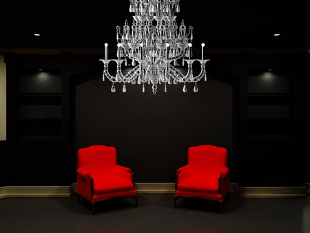 Two red chairs near black empty bookcase Stock Photo - 9578637