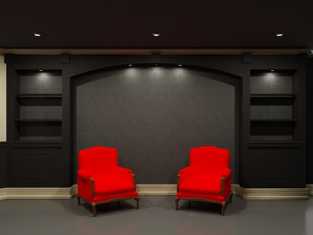 Two red chairs near black empty bookcase Stock Photo - 9578717
