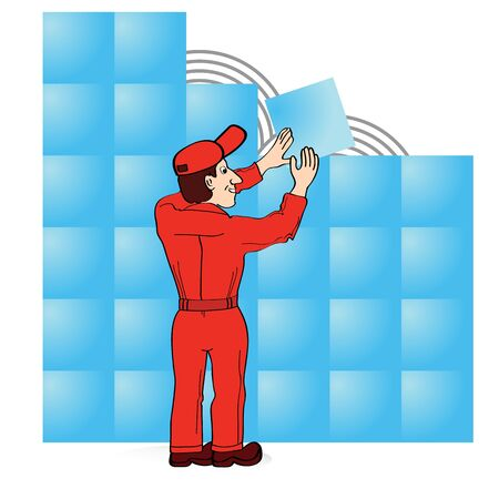 boiler suit: Builder in red boiler suit laying tiles Stock Photo