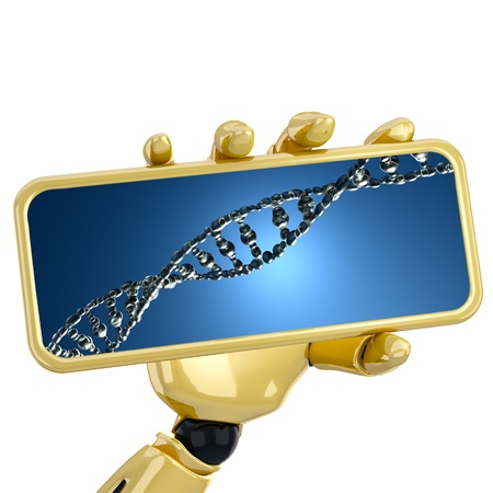 The 3d robotic hand hold a plate with DNA strends. Including clipping path photo