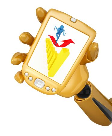 Gold 3d robotic hand hold a gold pda with person on arrow. Including clipping path Stock Photo - 9578729
