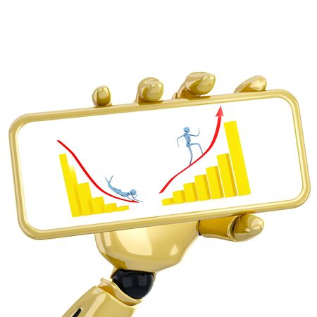 The 3d robotic hand hold a plate with golden graphs. Including clipping path Stock Photo - 9578727