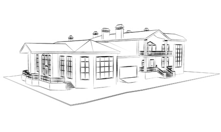 house outline: architecture 3d technical draw  Stock Photo
