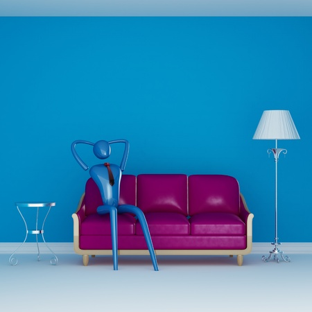 The person relaxing on the purple couch in blue minimalist interior photo