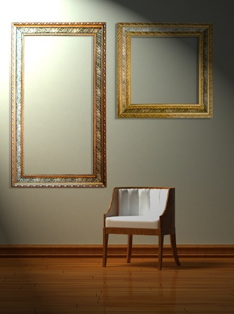 Chair  in minimalist interior with antique frames on the wall   photo