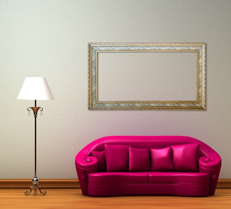 Pink couch with standard lamp in minimalist interior photo