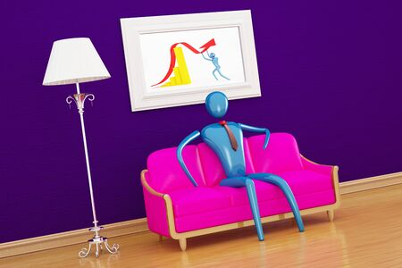Person relaxing in purple minimalist interior Stock Photo - 9578707