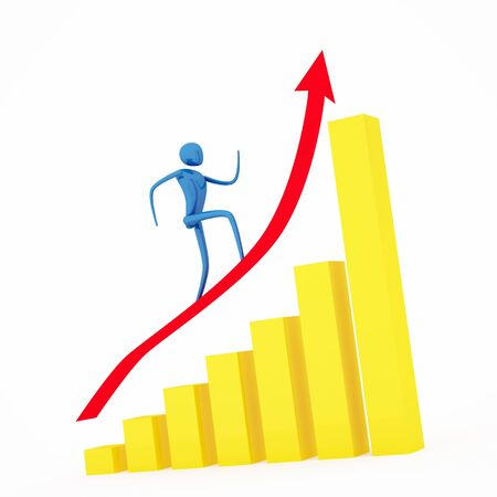 clambering: Person going up on a rising red arrow  Stock Photo