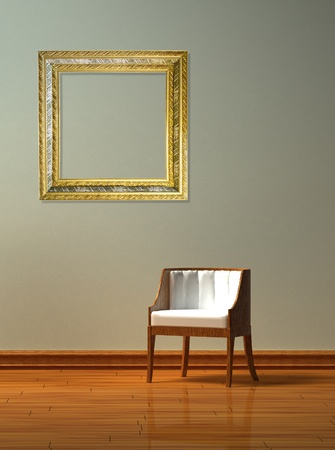 Alone chair with frame in minimalist interior  photo
