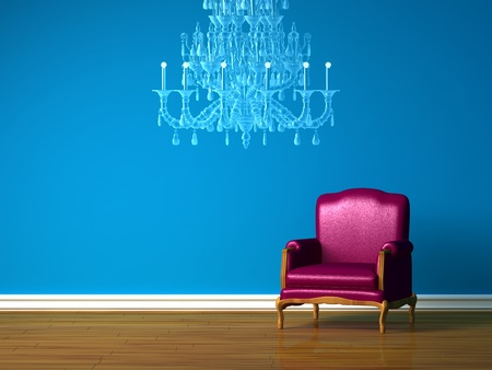 Purple chair and luxury chandelier in blue minimalist interior photo