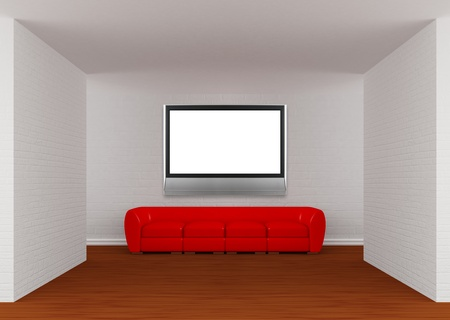 Gallery with red sofa and lcd TV  photo