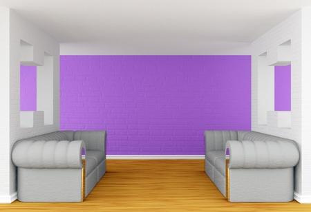 purple interior with luxurious sofas  photo