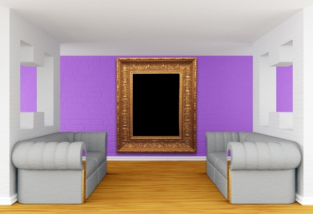 gallery with luxurious sofas and ornate frame photo
