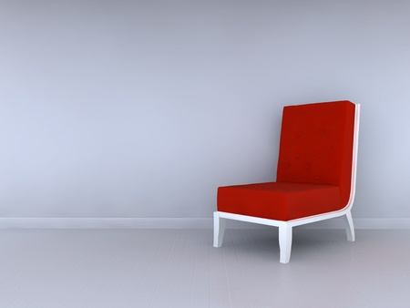 red chair: Alone red chair in minimalist interior Stock Photo