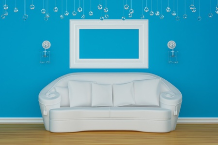 sconces: Sofa with sconces and empty frame