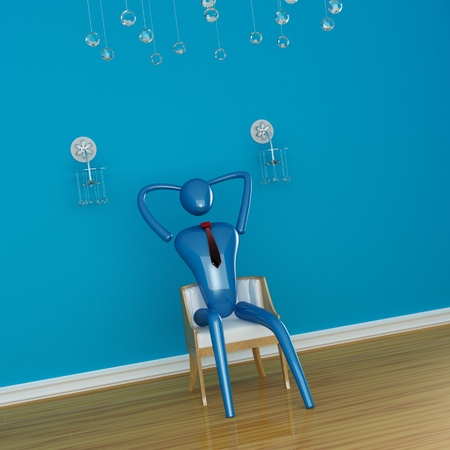 Person relaxing in blue minimalist interior photo