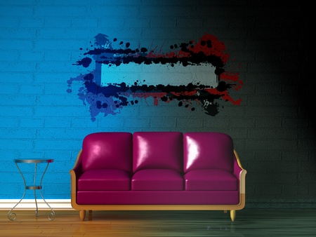 Purple couch, table and splash frame in gradient colored interior photo