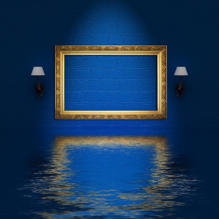 empty frame and sconces in flood blue minimalist interior photo