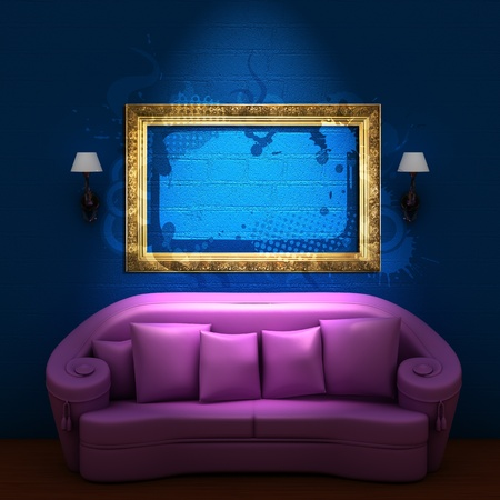 Pink couch with empty frame and sconces in blue minimalist interior Stock Photo - 11808246
