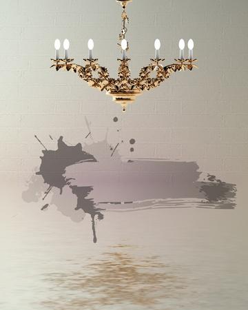 golden chandelier with splash frame in flood minimalist interior  photo