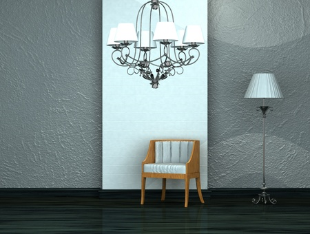 chair with luxury chandelier and stand lamp in interior  photo