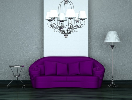 venge: Purple sofa with table,stand lamp and luxury chandelier in minimalist interior  Stock Photo