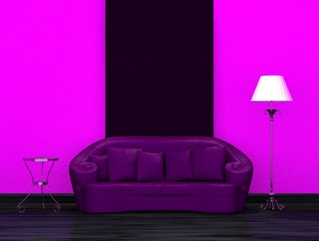 Purple sofa with table and stand lamp in dark minimalist interior photo