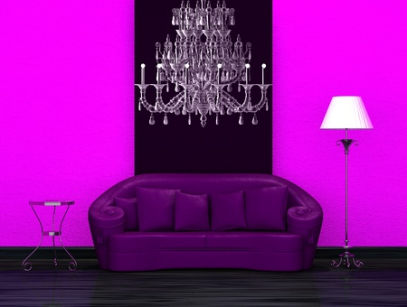 venge: Purple sofa with table and stand lamp in dark minimalist interior
