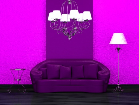 venge: Purple sofa with table, stand lamp and luxury chandelier in minimalist interior