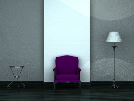 venge: Purple chair with table and stand lamp in minimalist interior