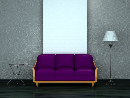 Purple sofa with table and stand lamp photo