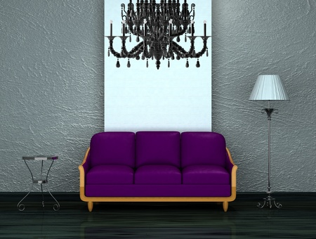 venge: Purple sofa with table and stand lamp