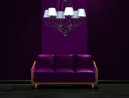 Purple couch with luxury chandelier in dark minimalist interior