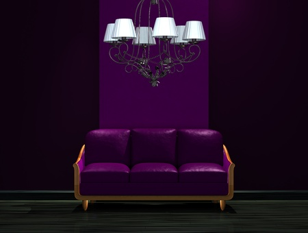 venge: Purple couch with luxury chandelier in dark minimalist interior