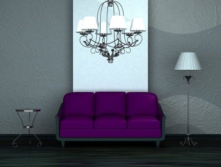 Purple sofa with table, stand lamp and luxury chandelier in minimalist interior