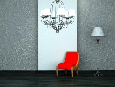 Red chair with luxury chandelier and stand lamp in interior