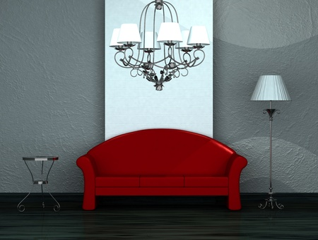 Red sofa with table, stand lamp and luxury chandelier in minimalist interior  Stock Photo