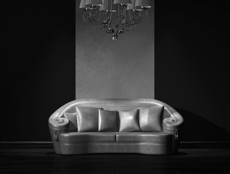 Leather divan with luxury chandelier in living room Stock Photo