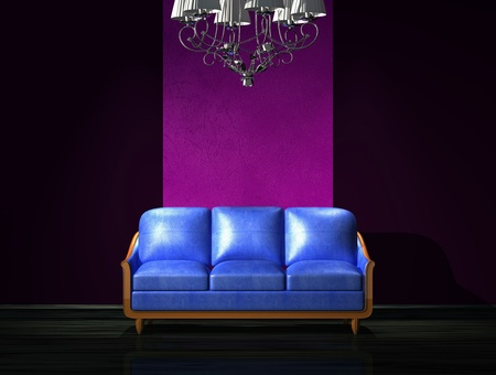 venge: Blue leather sofa with luxury chandelier in minimalist interior
