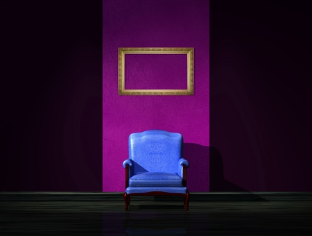 venge: Alone blue chair with empty frame in dark interior