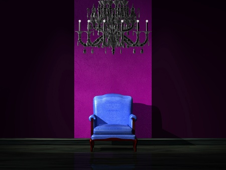 venge: Alone blue chair with luxury chandelier in dark interior Stock Photo